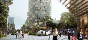 Projet urbain Marne Europe (Abords de la future gare de Bry-Villiers-Champigny) : vue du Palais des Congrès depuis Le Jardin Métropolitain