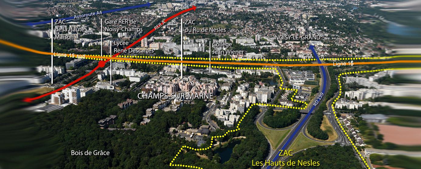 Périmètre de la ZAC Les Hauts de Nesles à Champs-sur-Marne