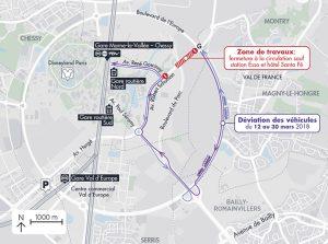 Plan de localisation - information de la fermeture de voies dans le cadre des travaux (boulevard Maurice Schuman) à proximité de la gare routière de Chessy durant la période du 12 au 30 mars 2018