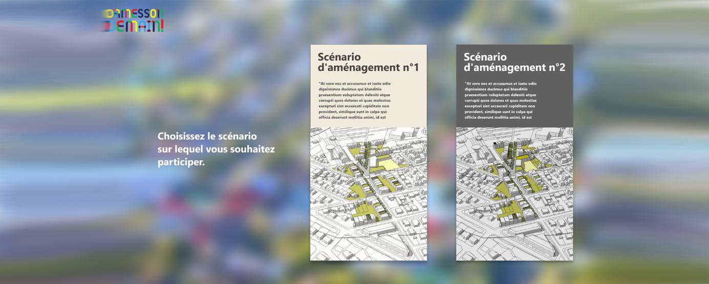 BIM Citoyen, sur le site Ormesson Demain : choisissez le scénario sur lequel vous souhaitez participer (scénario d'aménagement n°1 ou scénario n° 2)
