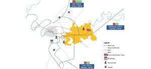 Carte des transports de Marne-la-Vallée au pôle de l'Est parisien.
