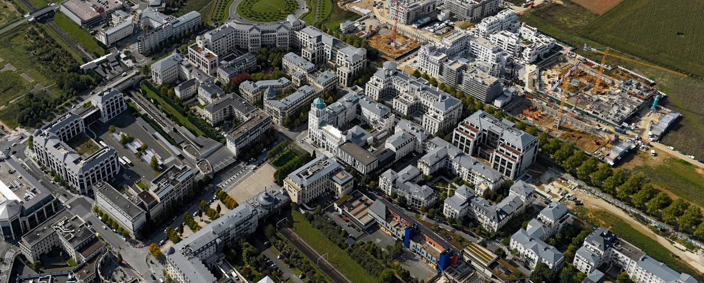 Photographie aérienne du centre urbain du Val d'Europe