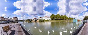 Panoramique des bords de Marne dans le centre-ville de Lagny-sur-Marne