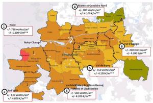 Territoires d'intervention d'EpaMarne/EpaFrance répartis en 6 secteurs pour le marché du logement