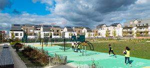 ecoquartier de montevrain : aire de jeux aux abords du programme de logements metaflore (rando photos biodiversite organisee par la maison de l'ecoquartier le 3/10/2018)