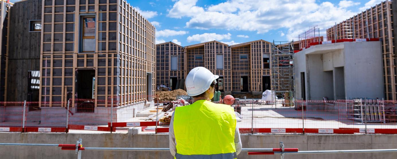 ecoquartier le sycomore, chantier du programme de logements liv'in bussy (lot sy4) bbca - bois en juin 2018