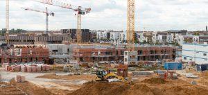 ecoquartier le sycomore : vue depuis le chantier du programme central garden (lot sy6) octobre 2018